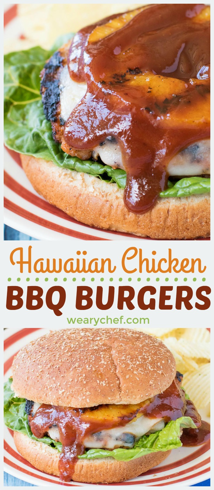 These sweet and savory Hawaiian Chicken BBQ Burgers will take your cookout to the next level! Seasoned chicken burgers are topped with sliced ham, melted cheese, a pineapple ring, and a generous drizzle of BBQ sauce. The flavor is out of this world!