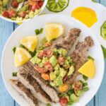 Quick Grilled Pork with Lemon Avocado Salad