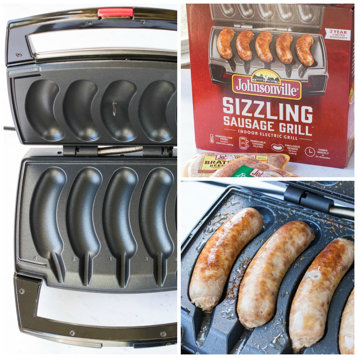 The Johnsonville Sizzling Sausage Grill perfectly cooks 1-5 sausages in under 15 minutes! Use it anywhere you have an electrical outlet, and cleanup is super easy in the dishwasher!