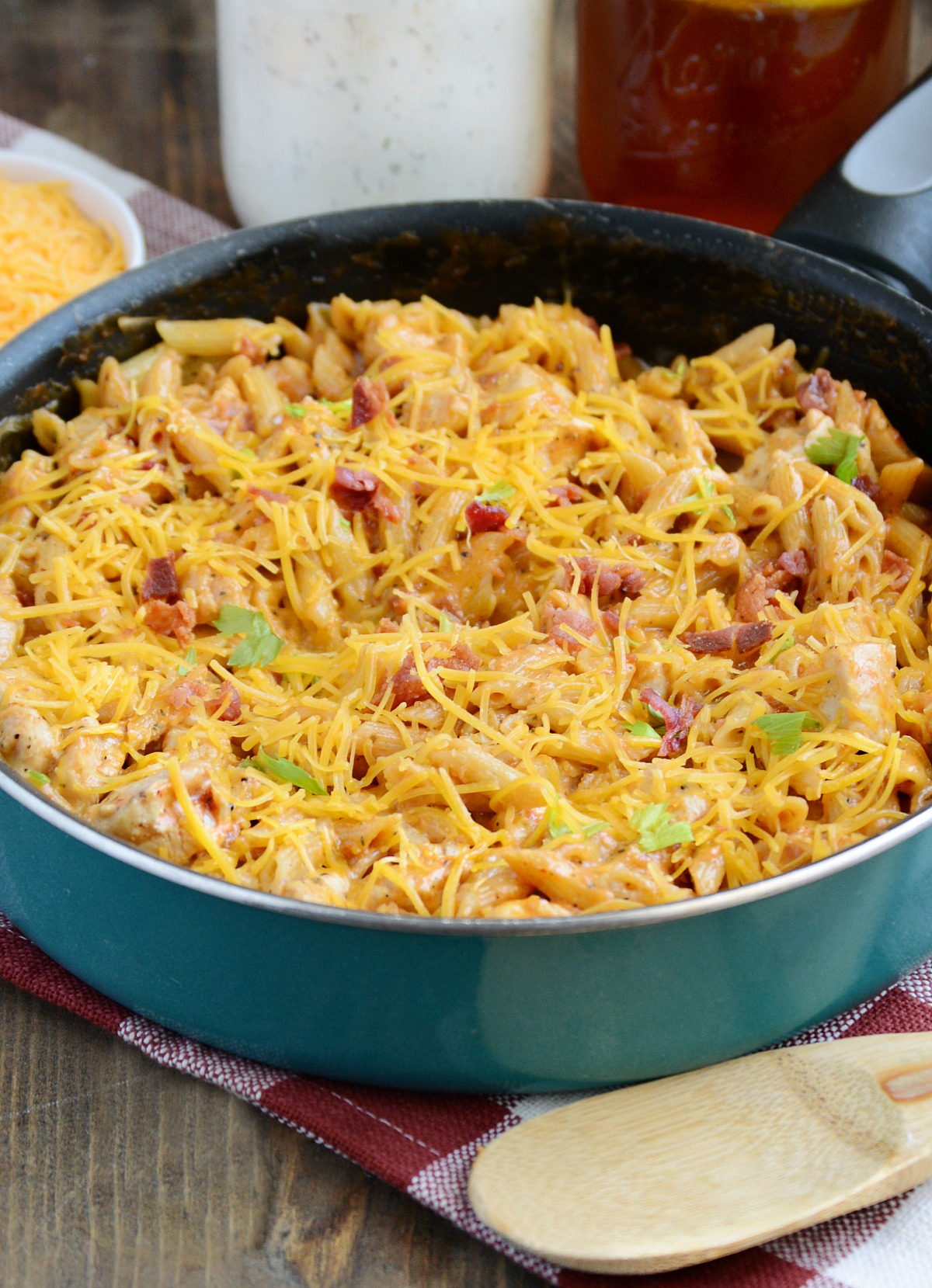 30-minute BBQ Bacon Ranch Chicken Pasta has all the flavors you love in an easy, one-pot dinner recipe!