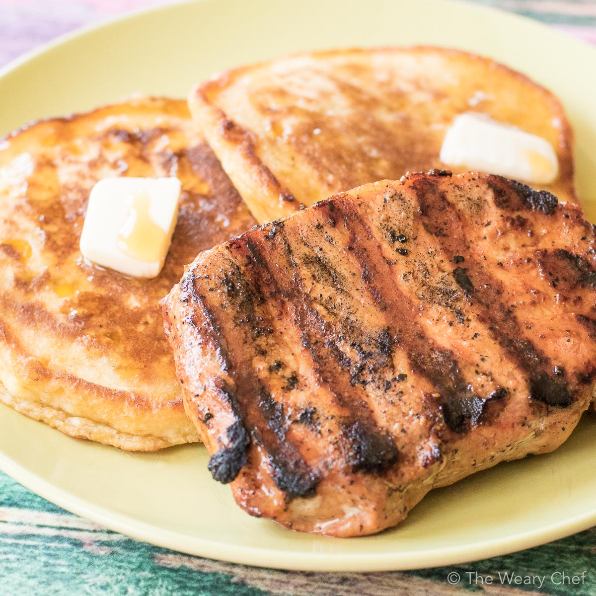 Easy Cream Corn Pancakes paired with freshly grilled pork chops makes for a delicious breakfast or dinner! {30 minute meal   breakfast for dinner }