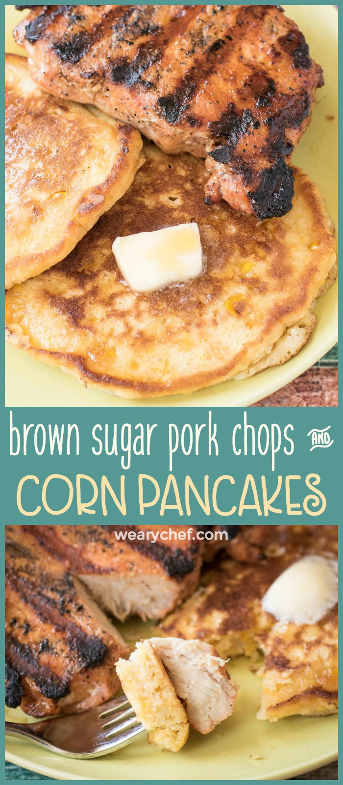 Quick Cream Corn Pancakes with Brown Sugar Pork Chops The Weary Chef