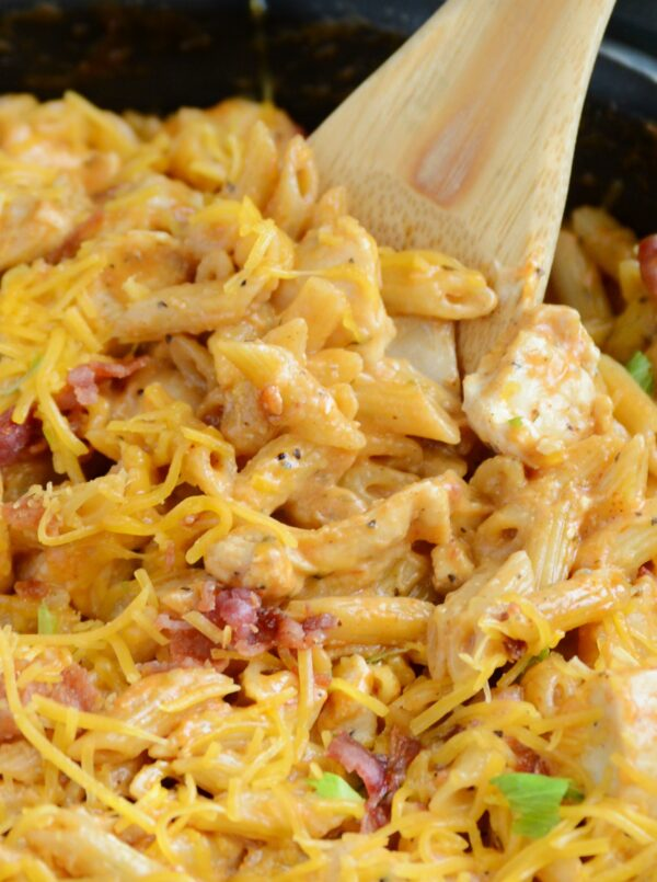 30-minute BBQ Chicken Bacon Ranch Pasta has all the flavors you love in an easy, one-pot dinner recipe!