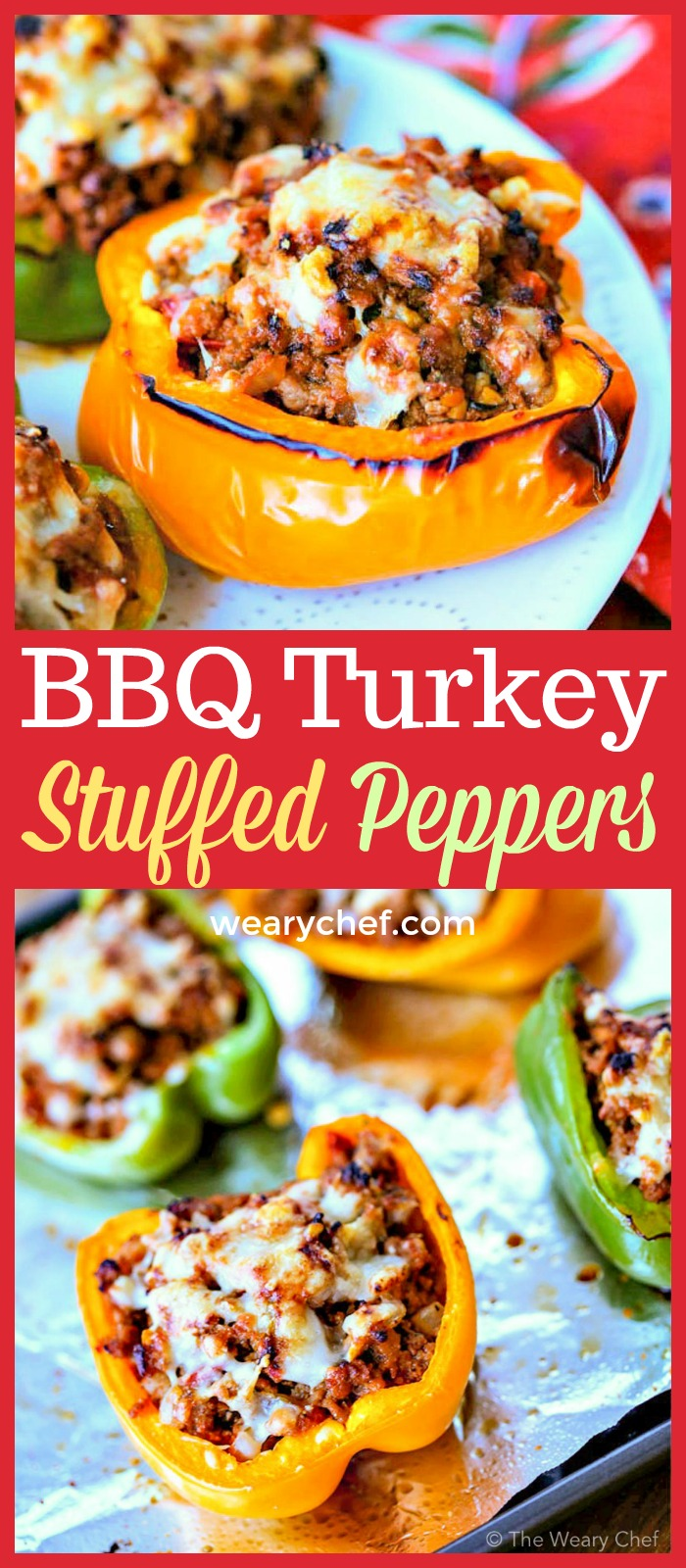 These ground turkey stuffed peppers with BBQ flavor are good for you and taste out of this world!