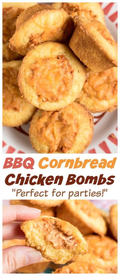Mini cornbread muffins are stuffed with a creamy BBQ chicken mixture and topped with shredded cheese. Perfect easy recipe for tailgating, parties, and potlucks! #tailgating #bbq #chicken #cornbread
