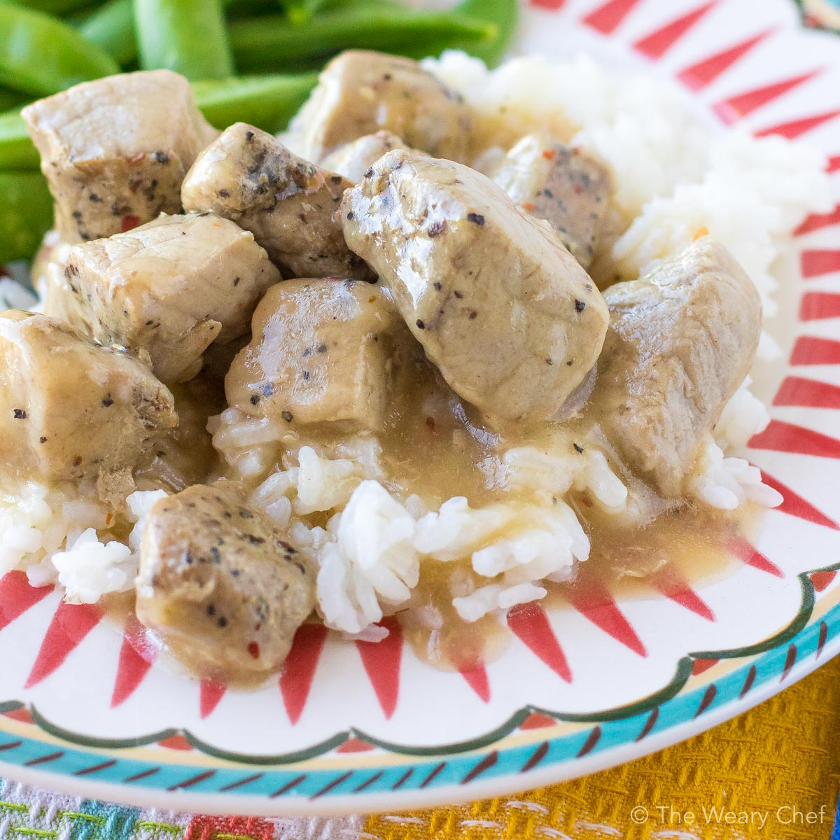 Four-ingredient Pork Tips with Gravy might be my favorite pork recipe ever, and that's saying a lot! This meal is so simple and delicious that you'll want to put it on your menu every week. #pork #gravy #easydinner