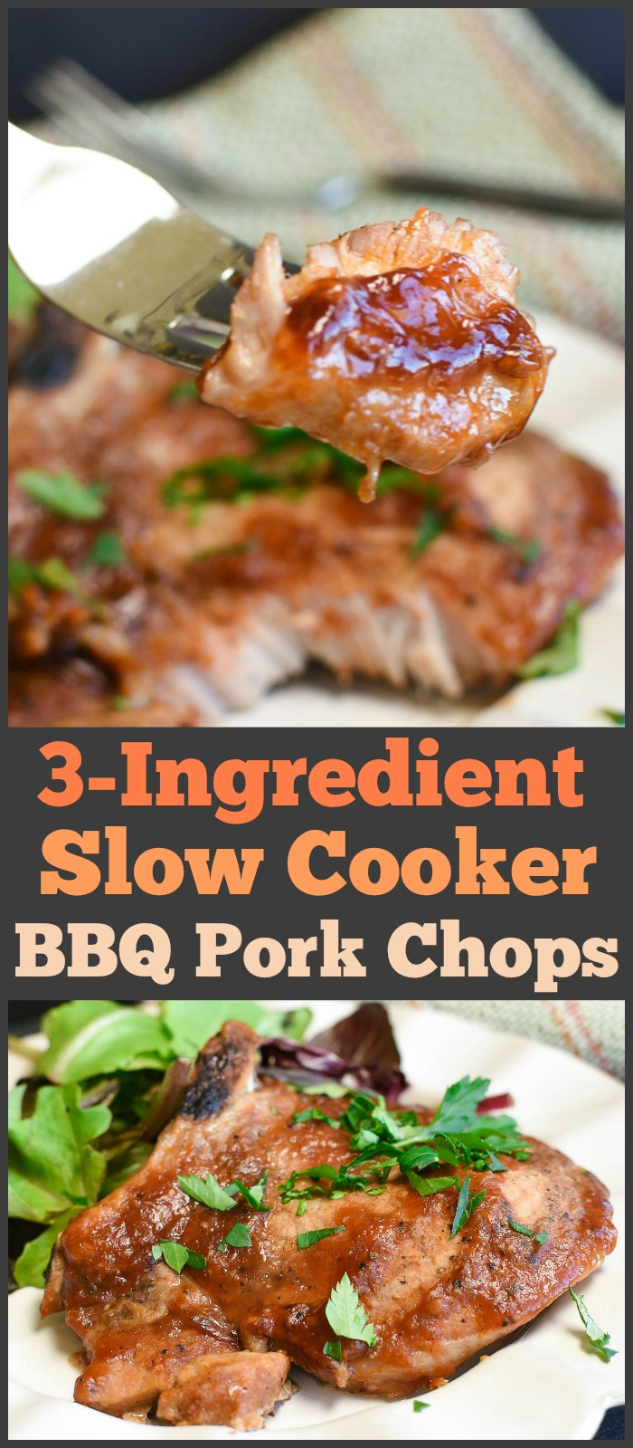 These slow cooker BBQ Pork Chops only need three ingredients and a few minutes to throw together. They will become one of your go-to family dinners! #crockpot #slowcooker #pork #porkchops