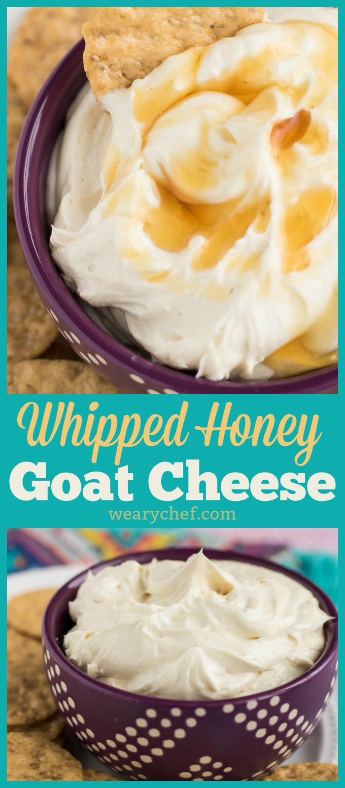 Looking for an easy appetizer to serve at your next party? This Honey Whipped Goat Cheese Spread is IT! All you need is tangy chevre, rich cream cheese, and sweet raw honey. #honey #chevre #goatcheese #cheesedip #appetizer