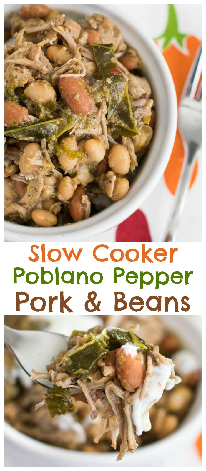 Slow Cooker Pork and Beans with Poblano Peppers is a super simple dinner recipe that tastes incredible! #pork #crockpot #slowcooker #beans