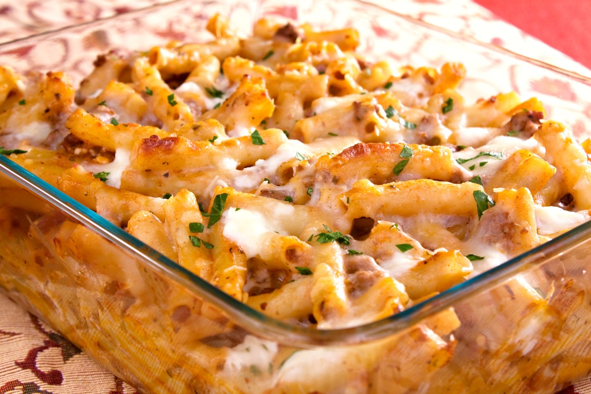 Classic Baked Ziti Noodles are made easy in this recipe with Italian sausage and jarred pasta sauce. Enjoy this comfort food pasta dish on a weeknight, for Sunday dinner, or take it to a potluck! #thewearychef #bakedziti #bakedpasta #casserole #sausage #easydinner