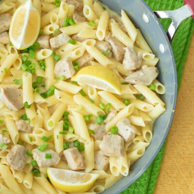 One-Pot Lemon Garlic Pasta with Pork