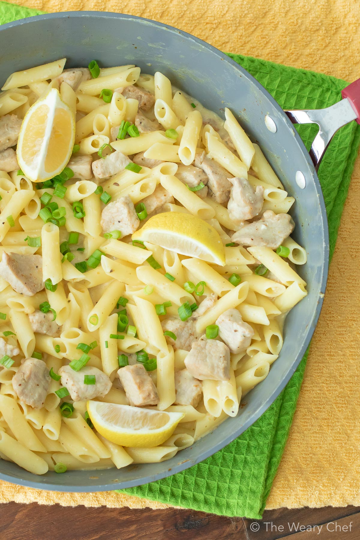 This one-pot Lemon Garlic Pasta with Pork can be on the table in about a half hour. It's a dish the whole family will love and perfect for busy nights! #thewearychef #pasta #pork #dinner #easyrecipe #sponsored