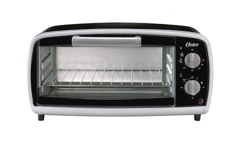 oster toaster oven in shiny black and stainless steel on a white background