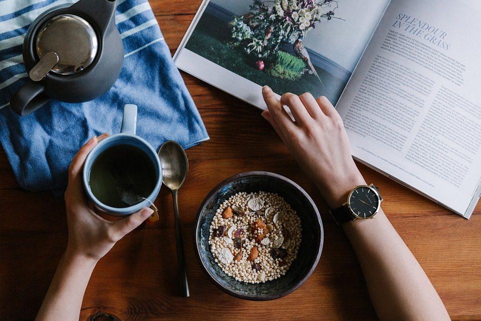 breakfast magazine and tea