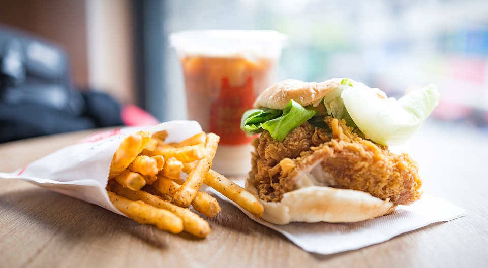 chicken sandwich fries and drinks