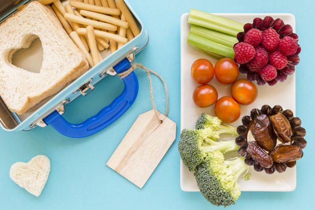 healthy food near labelled lunchbox
