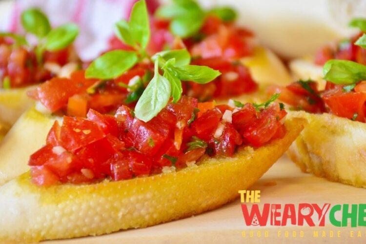 Bruschetta bread baguette tomatoes