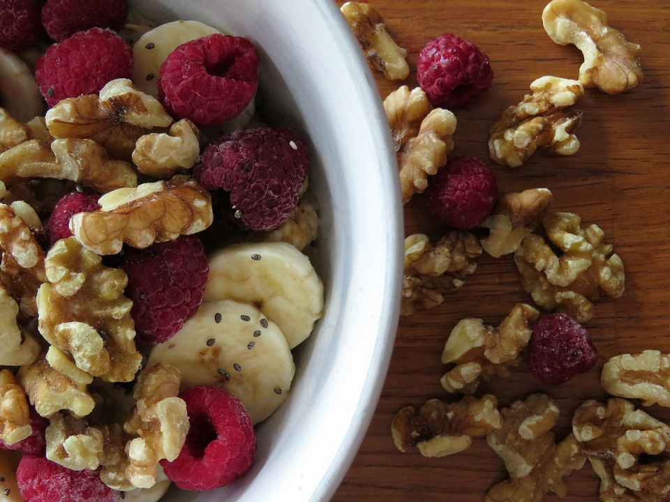 walnuts berries and flaxseeds