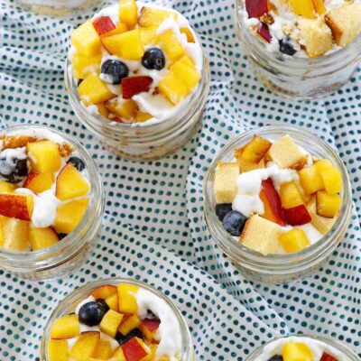 Mini Peach and Blueberry Trifles