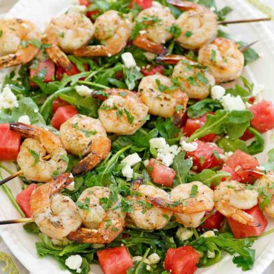 Grilled Shrimp & Watermelon & Arugula Salad