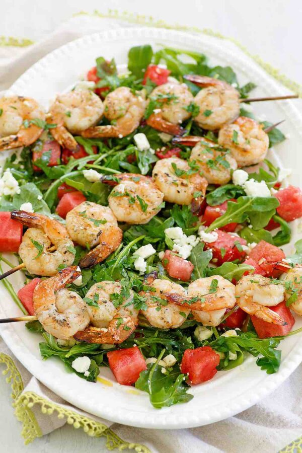 Grilled Shrimp and Watermelon and Arugula Salad