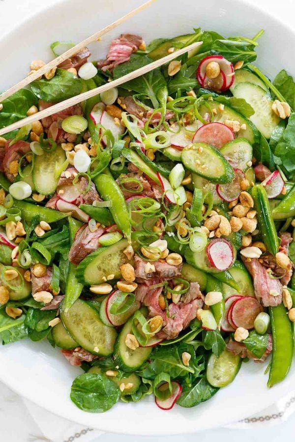 Steak Snap Pea Peanut Salad