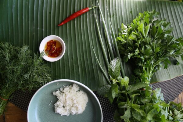 Fresh greens and a plate of jasmine rice in an instant pot